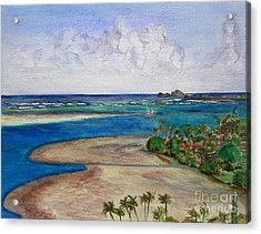 Acrylic Print featuring the painting Kaneohe Bay View From The Roof by Mukta Gupta