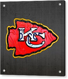 Kansas City Chiefs Football Team Retro Logo Missouri License Plate Art Acrylic Print
