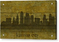 Kansas City Missouri City Skyline Silhouette Distressed On Worn Peeling Wood Acrylic Print