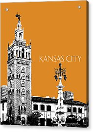 Kansas City Skyline 2 - Dark Orange Acrylic Print by DB Artist