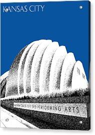 Kansas City Skyline 3 Kauffman Center - Royal Blue Acrylic Print by DB Artist