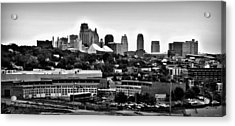 Kansas City Skyline And Roundhouse Bw Acrylic Print by Elizabeth Sullivan