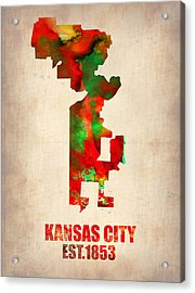 Kansas City Watercolor Map Acrylic Print by Naxart Studio