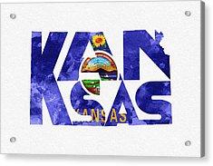 Kansas Typographic Map Flag Acrylic Print by Ayse Deniz