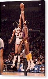 Kareem Abdul Jabbar Vs. Wilt Chamberlain Jump Ball Acrylic Print by Retro Images Archive