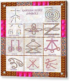 Karuna Reiki Healing Power Symbols Artwork With  Crystal Borders By Master Navinjoshi Acrylic Print