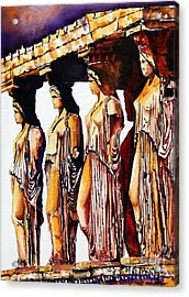Karyatides Acrylic Print by Maria Barry