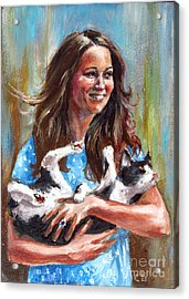 Kate Middleton Duchess Of Cambridge And Her Royal Baby Cat Acrylic Print by Daniel Cristian Chiriac