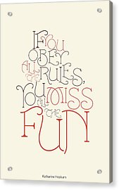 Katharine Hepburn Typographic Quotes Poster Acrylic Print by Lab No 4 - The Quotography Department