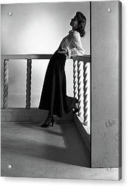 Katherine Bard Wearing A Long Skirt Acrylic Print by Horst P. Horst