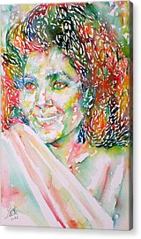 Kathleen Battle - Watercolor Portrait Acrylic Print by Fabrizio Cassetta