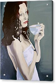Acrylic Print featuring the painting Katie - Morning Cup Of Tea by Stephen Panoushek