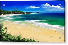Acrylic Print featuring the digital art Kauai Beach Solitude by Anthony Fishburne
