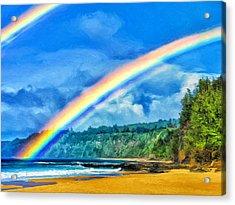 Kauai Double Rainbow Acrylic Print