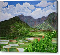 Acrylic Print featuring the painting Kauai Taro Fields by Chad Berglund