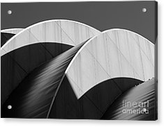 Kauffman Center Curves And Shadows Black And White Acrylic Print