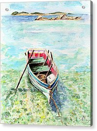 Kavala Row Boat Acrylic Print by Tamyra Crossley