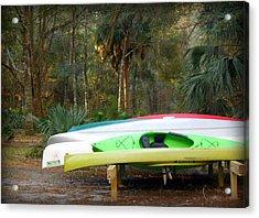 Kayak And Canoes Awaiting Acrylic Print