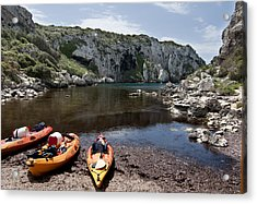 Kayak Time - The Landscape Of Cales Coves Menorca Is A Great Place For Peace And Sport Acrylic Print