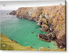 Kayakers In A Cove Near Mullion Cove Acrylic Print