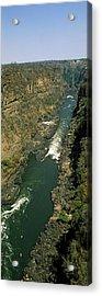 Kayakers Paddle Down The Zambezi Gorge Acrylic Print by Panoramic Images