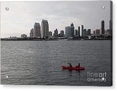 Kayaking Along The San Diego Harbor Overlooking The San Diego Skyline 5d24376 Acrylic Print by Wingsdomain Art and Photography