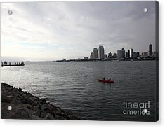 Kayaking Along The San Diego Harbor Overlooking The San Diego Skyline 5d24377 Acrylic Print by Wingsdomain Art and Photography