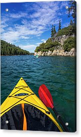 Kayaking In Emerald Bay At Fannette Acrylic Print by Russ Bishop