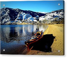 Kayaking In January Acrylic Print by Guy Hoffman