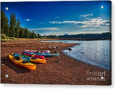 Acrylic Print featuring the painting Kayaking On Howard Prairie Lake In Oregon by Omaste Witkowski