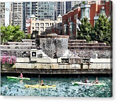 Kayaking On The Chicago River Near Centennial Fountain Acrylic Print by Susan Savad