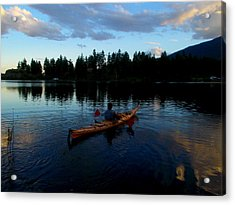 Kayaking Sunset Acrylic Print by Guy Hoffman