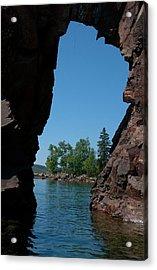 Kayaking Through The Arch Acrylic Print by Sandra Updyke