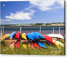 Kayaks At Atlantic Shore  Acrylic Print by Elena Elisseeva