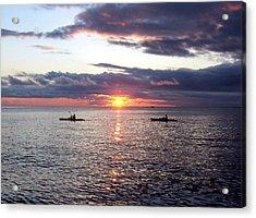 Kayaks At Sunset Acrylic Print by David T Wilkinson