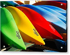 Kayaks Await Acrylic Print by James Kirkikis
