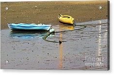 Kayaks-blue And Yellow Acrylic Print
