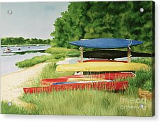 Acrylic Print featuring the painting Kayaks In Limbo by Karol Wyckoff