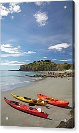 Kayaks On Beach Near Doctors Point Acrylic Print