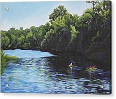 Kayaks On Rainbow River Acrylic Print by Penny Birch-Williams