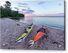 Kayaks On Sand Beach At York Island Acrylic Print by Chuck Haney