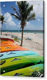Kayaks On The Beach Acrylic Print by Amy Cicconi