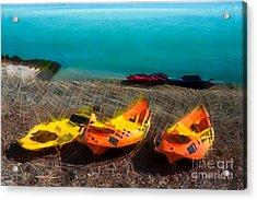Kayaks On The Beach Acrylic Print