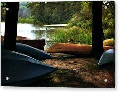 Kayaks On The Shore Acrylic Print