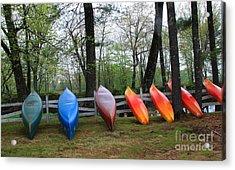 Kayaks Waiting Acrylic Print by Michael Mooney