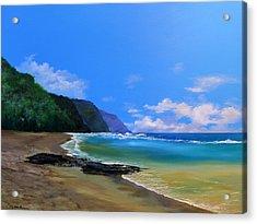 Ke'e Beach Kauai Acrylic Print by Ken Ahlering