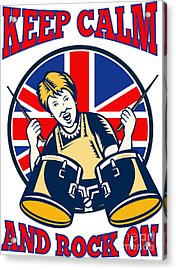 Keep Calm Rock On British Flag Queen Granny Drums Acrylic Print by Aloysius Patrimonio