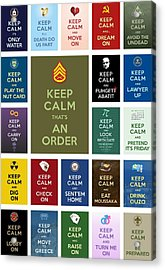 Keep Calm ...with A Bite Collage Acrylic Print by Helena Kay