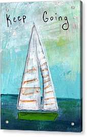 Keep Going- Sailboat Painting Acrylic Print by Linda Woods