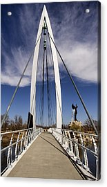 Keeper Of The Plains Bridge View Acrylic Print